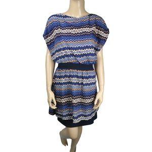 Greylin Blue Black White Liner Sun Dress